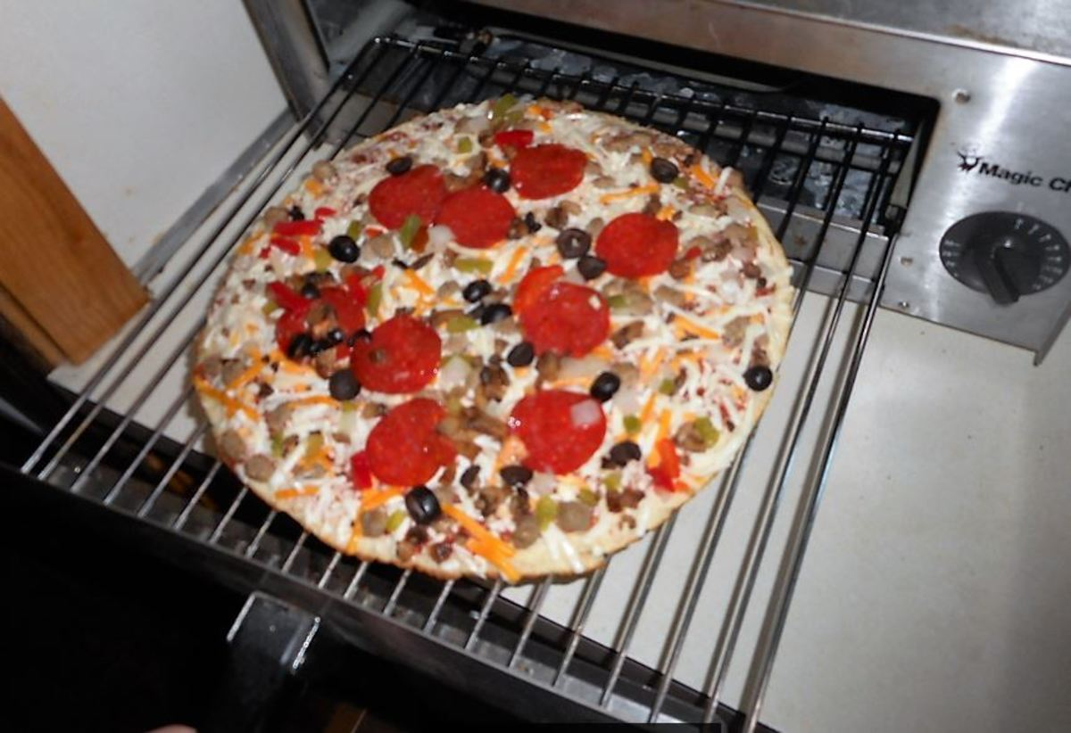 Frozen pizza ready to bake. [Remember to remove plastic and cardboard]