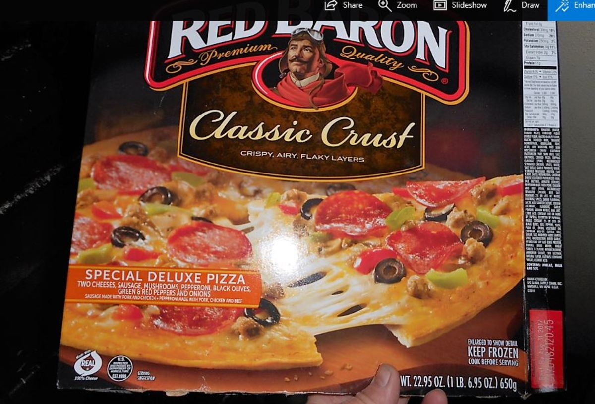 Frozen pizza from freezer section of grocery store
