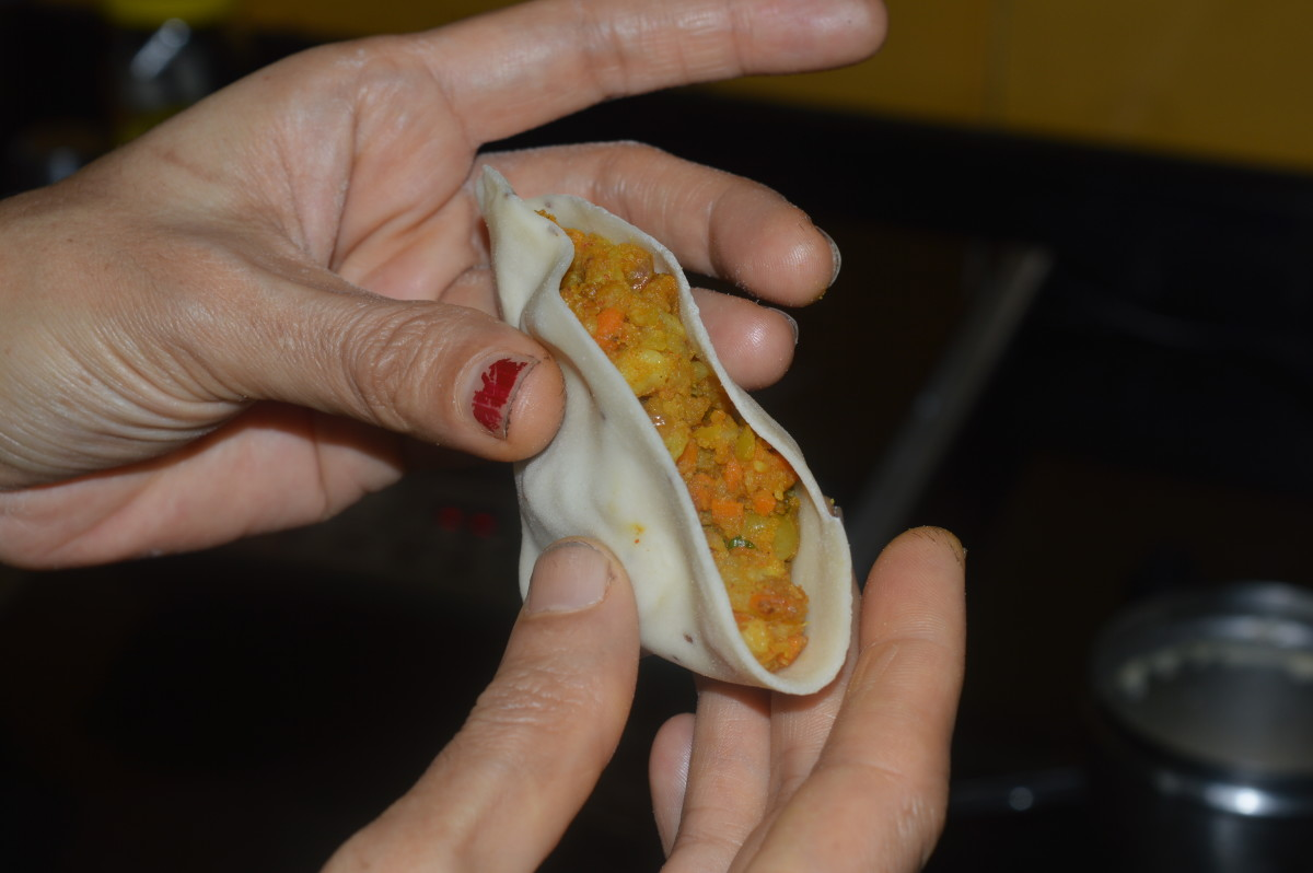 The stuffing inside the wrapper