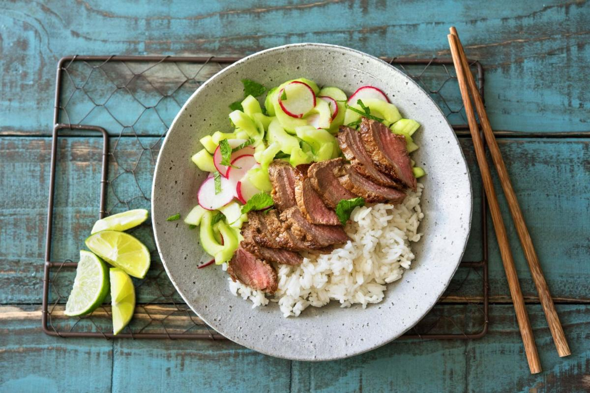 Vietnamese-Marinated Steak with Herb Salad, Quick Pickled Veggies, and Jasmine Rice