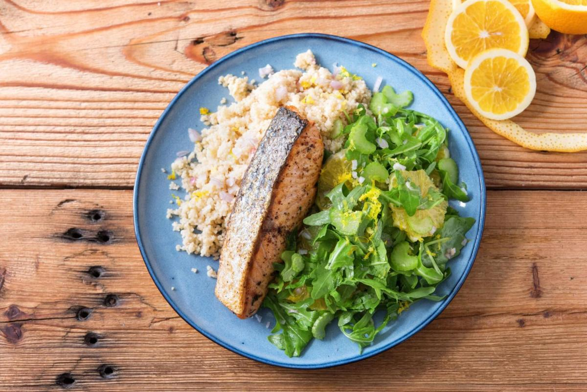 Spiced Salmon with Orange Arugula Salad, Couscous, and Lemon Shallot Dressing