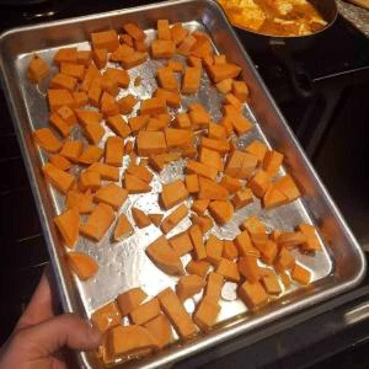 Bake the sweet potatoes in the oven until they're soft.