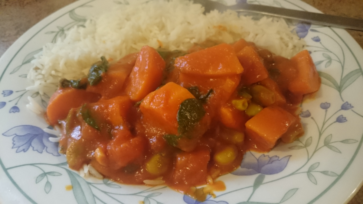 Sweet potato, bean and spinach gluten-free vegan curry.