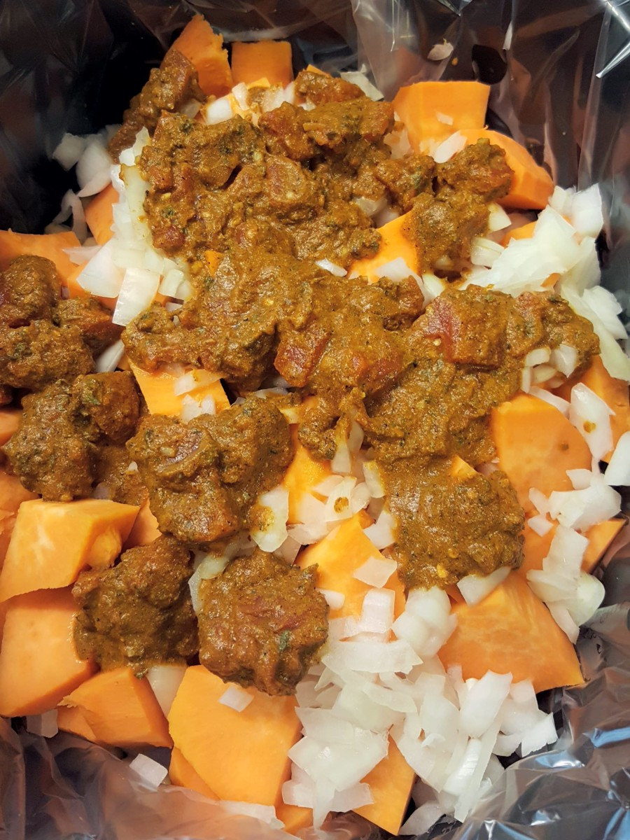 Chicken Marrakesh in the slow cooker, before cooking.