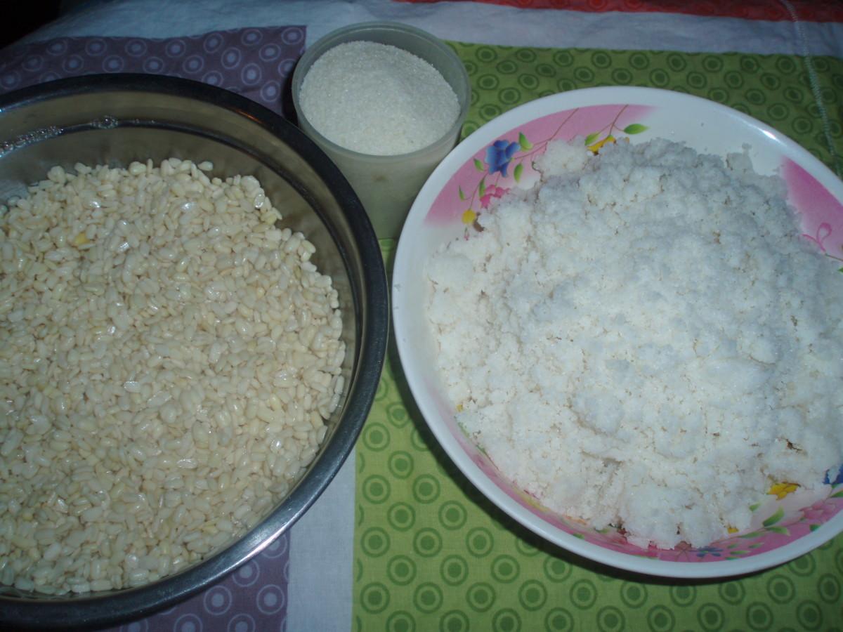Soaked dehusked black lentil and washed rice semolina
