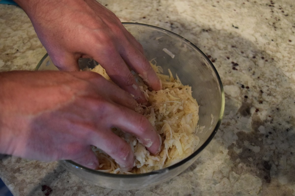 Mixing the crust.