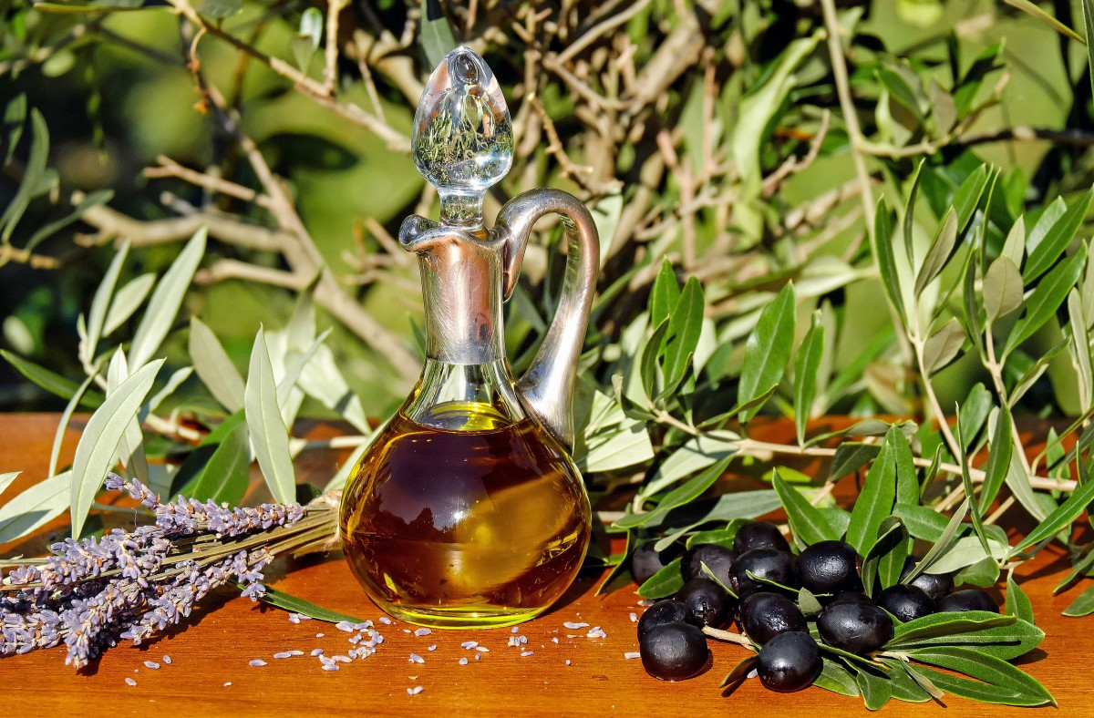 A carafe of olive oil