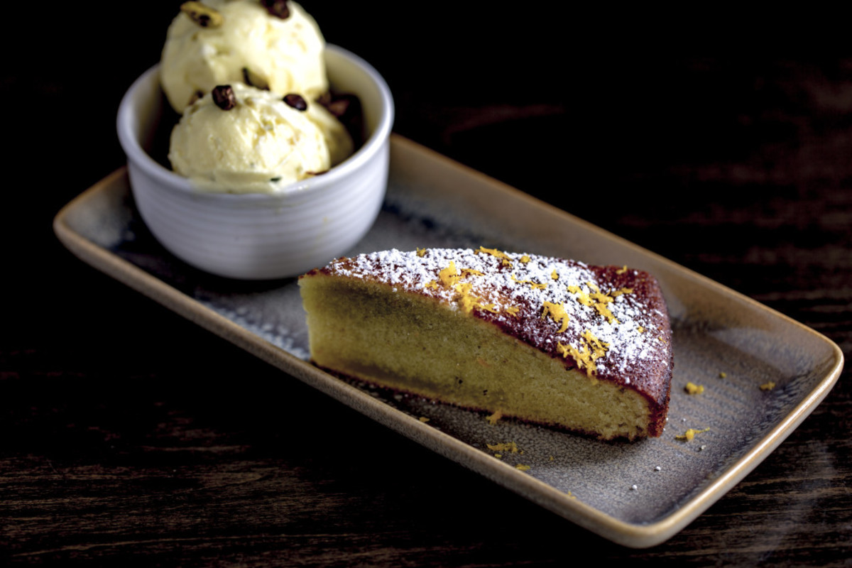Olive oil cake and saffron ice cream