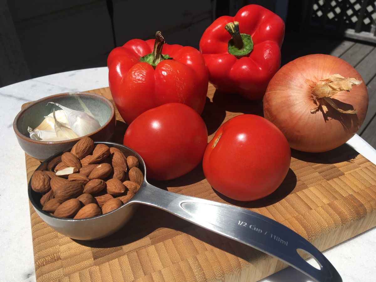 Traditional romesco ingredients