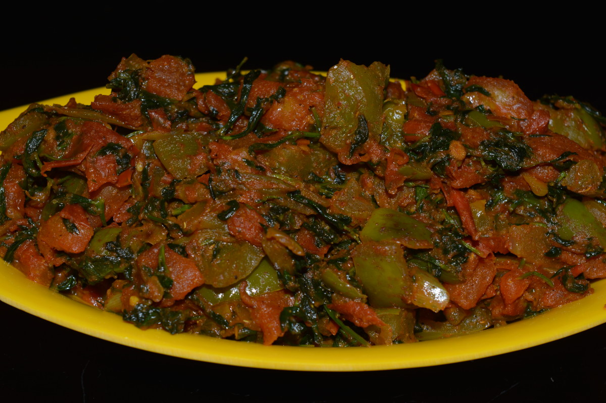 fenugreek leaves/methi leaves and mixed vegetables curry
