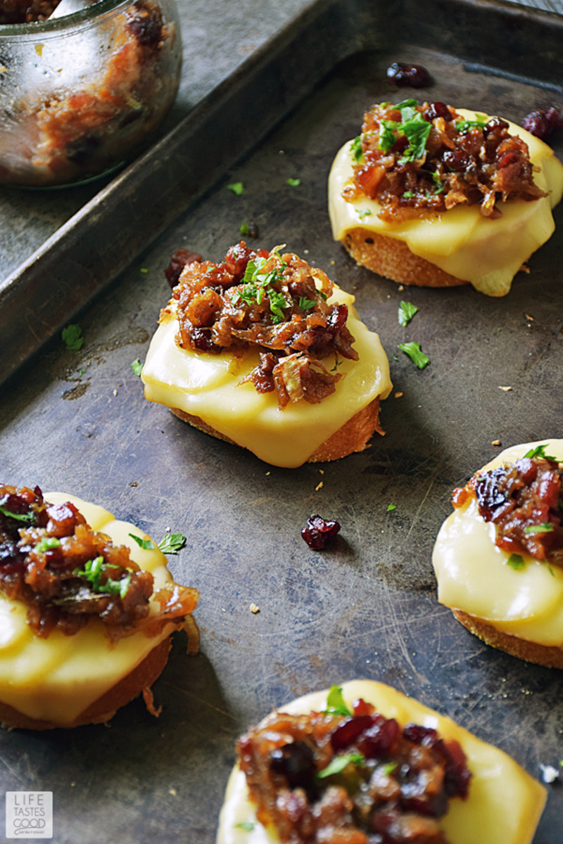 Cranberry-Bacon Jam crostini