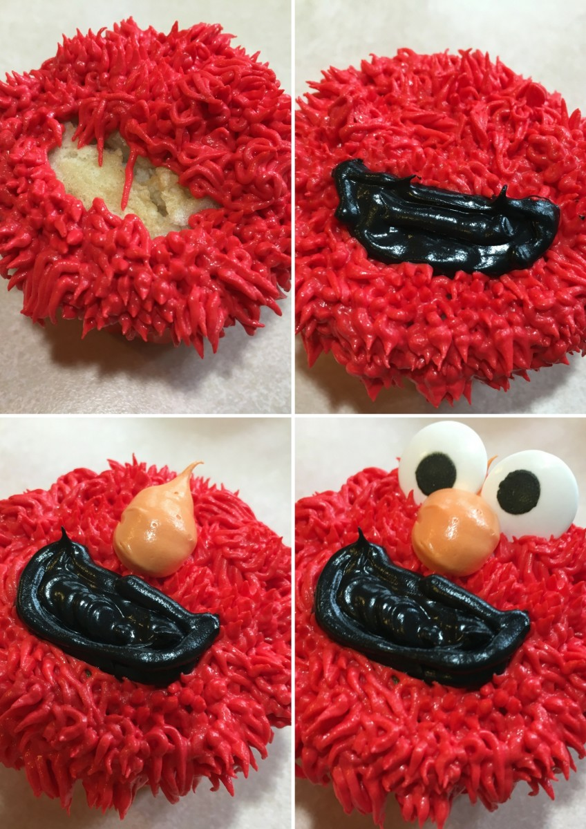 Making your perfect Elmo cupcake may take practice, so give yourself plenty of time to get it right.