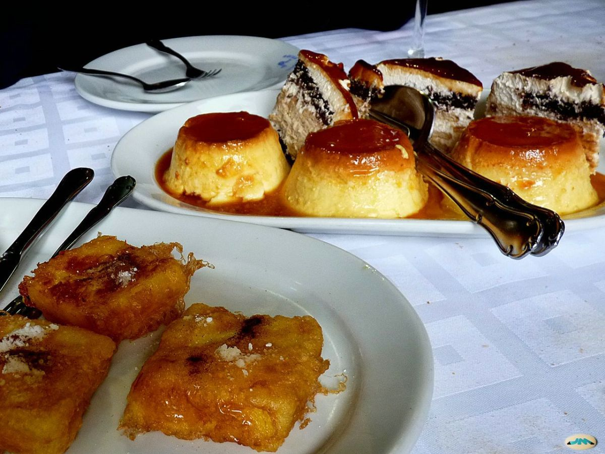 Leche frita with flan, another classic Spanish dessert.