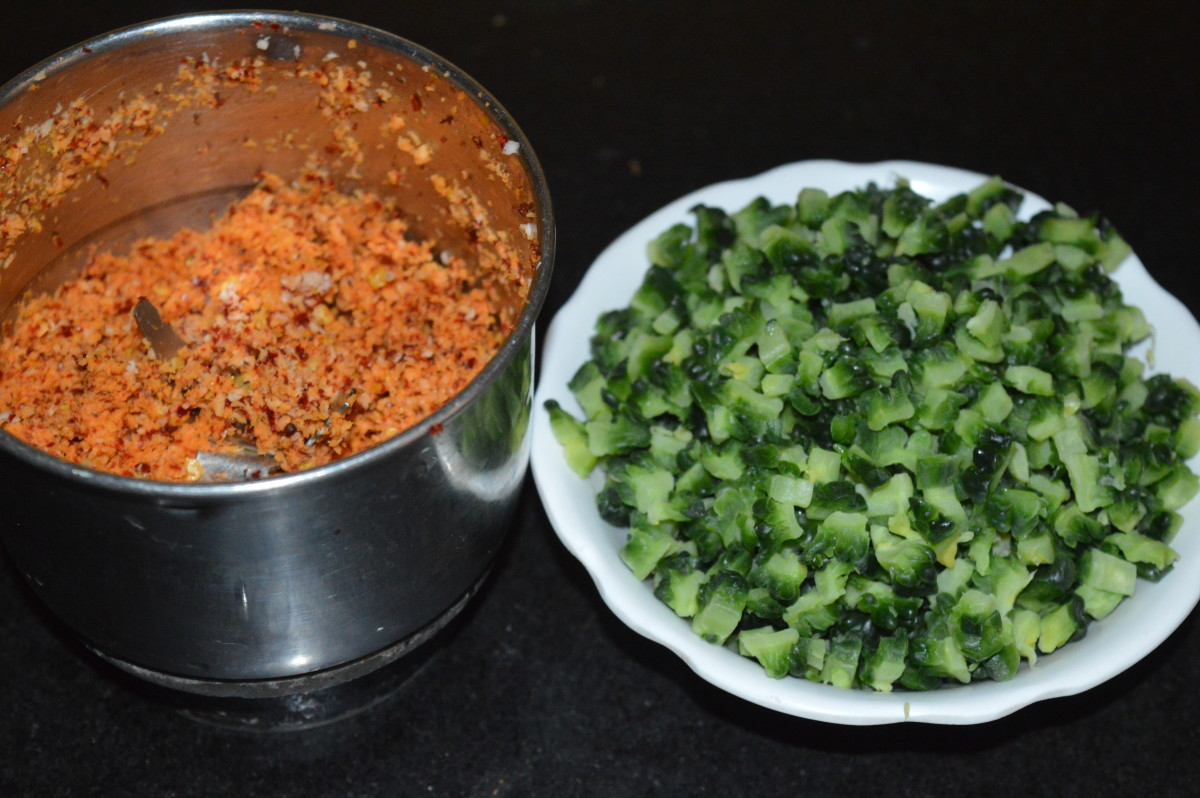 Step one: Prepare ground spices and bitter gourd.