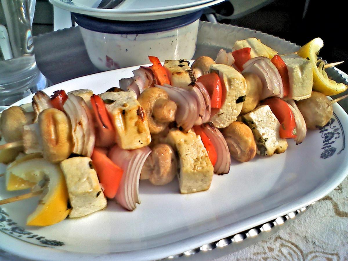 Grilled tofu and vegetable kebabs.