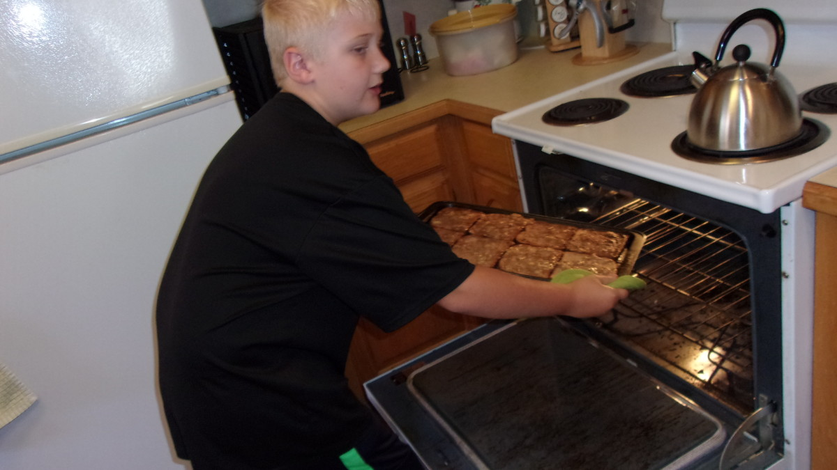 putting the French toast in the oven
