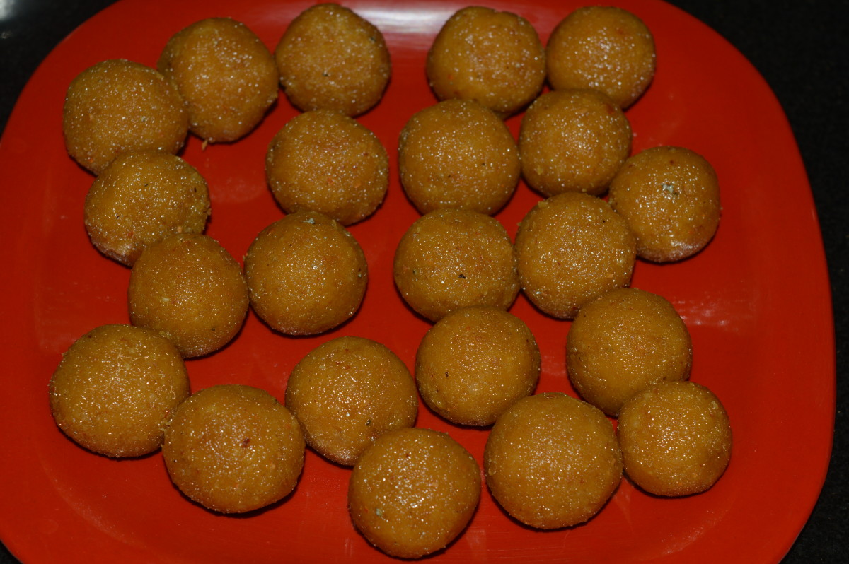 Step five: coconut jaggery balls before deep frying