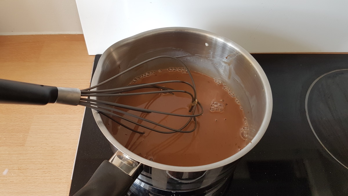 After whisking together the first ingredients you should get a nice brown mixture in your pot.