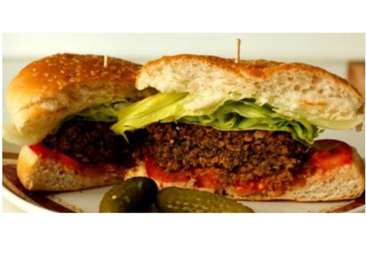Vegetarian burgers made with chopped nuts, breadcrumbs and egg.