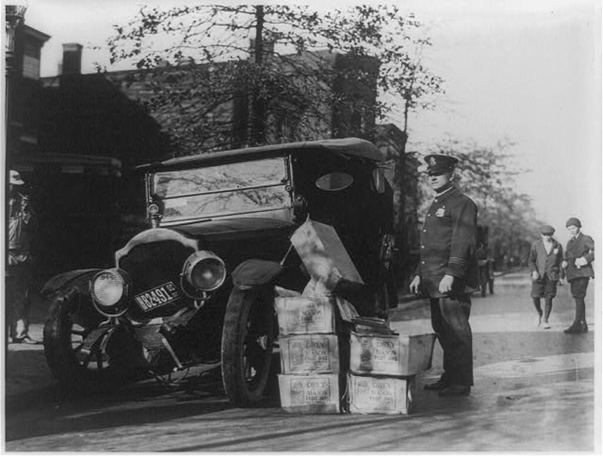A 1922 delivery of moonshine intercepted by the authorities.