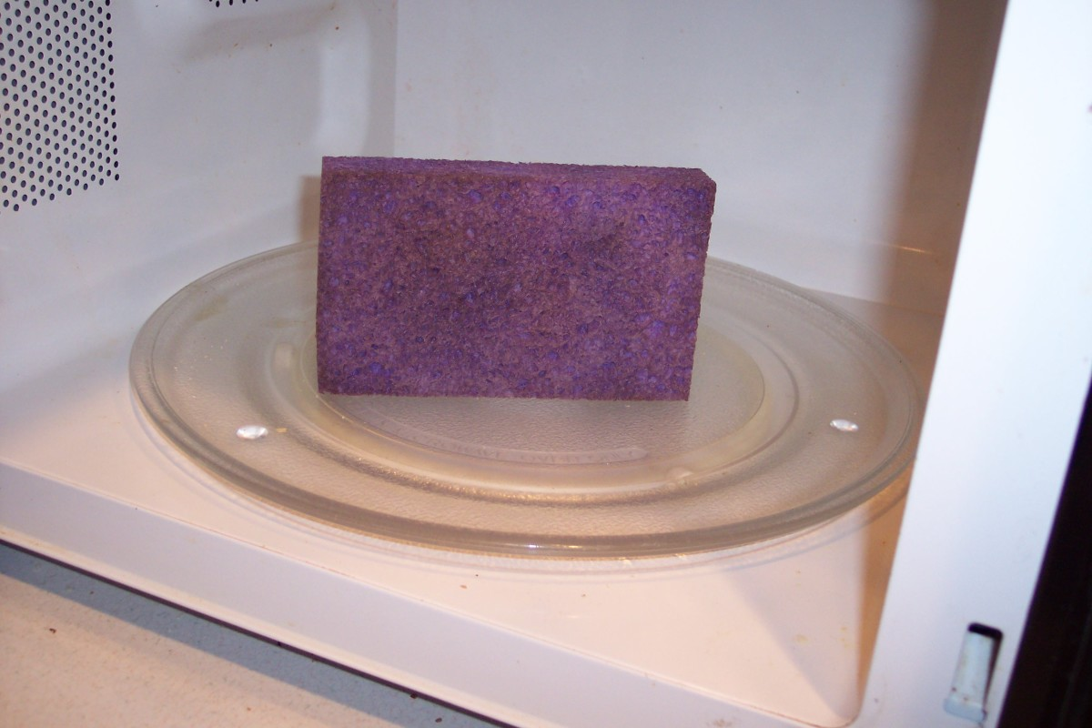 With their many surfaces, sponges are especially susceptible to microbes. Don't bother soaking them. After rinsing them off, either put them in the microwave, on high, for a minute or run them through a cycle in the dishwasher. Replace them regularly