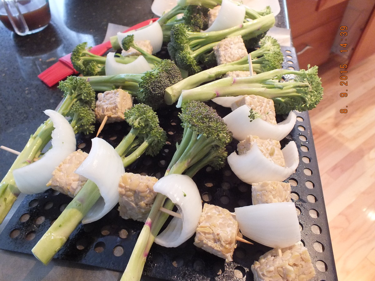 10.Take your water soaked skewers and place an onion , tempeh and then broccoli on the skewers until you have used up all the ingredients.