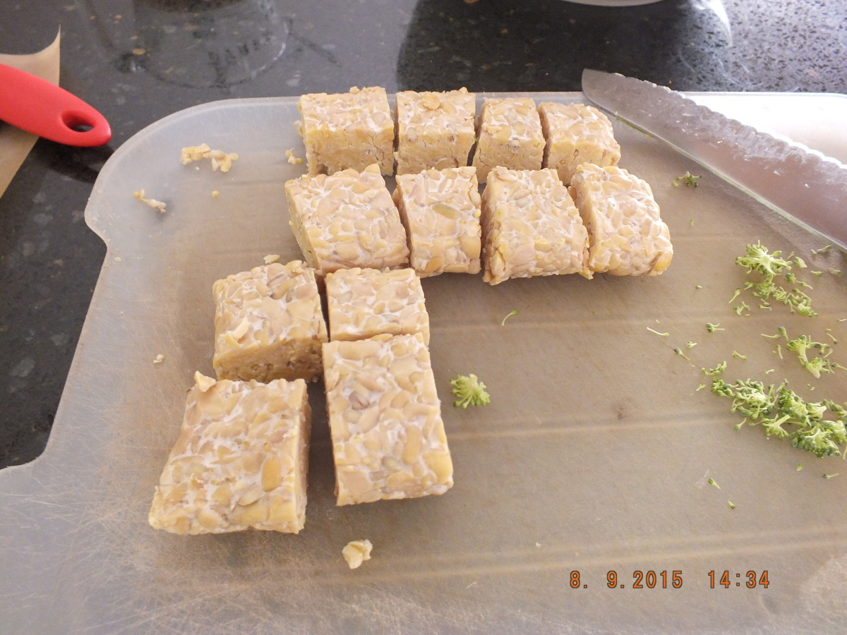 9.The tempeh should be in about 1 inch cubes. If you cut them too small they may fall apart. Cut the onion from top to bottom into one inch cross sections.