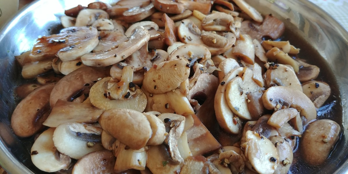 Mushrooms sauteed in olive oil and butter