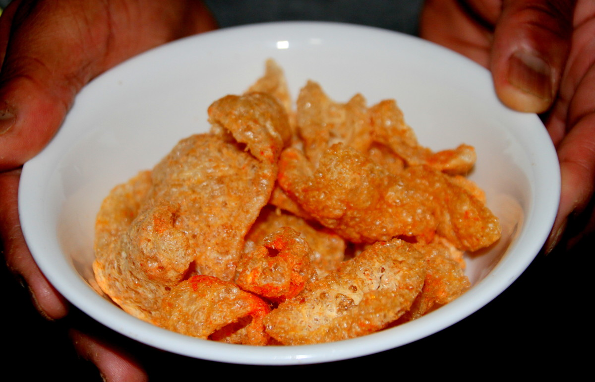 Pork rinds make a loud crunch as you nibble on them.