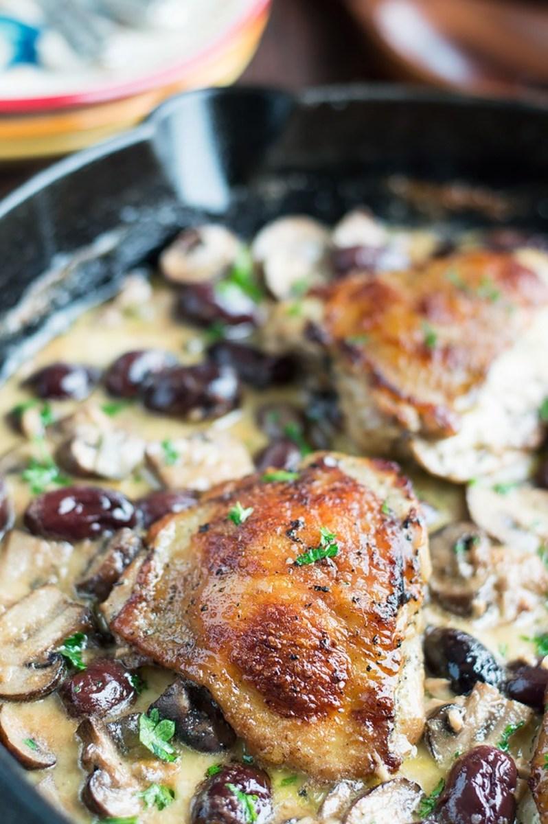 Marinated roasted chicken in wine mushroom cream sauce with kalamata olives