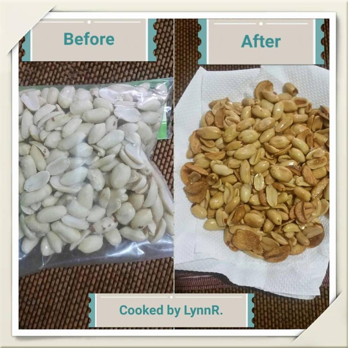 Raw vs. roasted peanuts