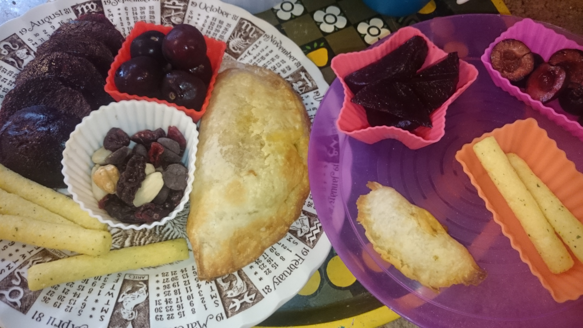 Gluten-free vegan pasties (my plate on the left, my son's on the right).