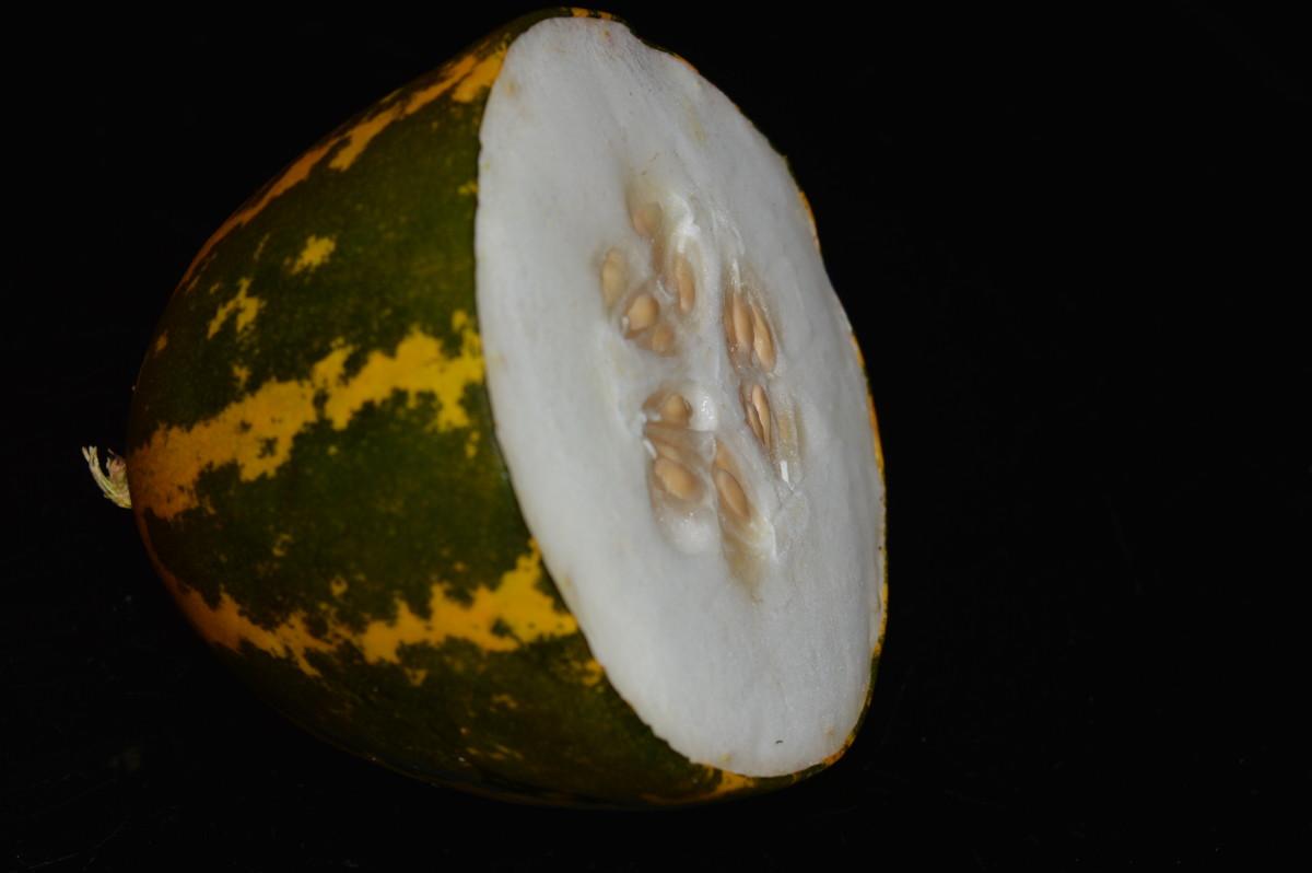 Mogem, or Madras cucumber, cut into half