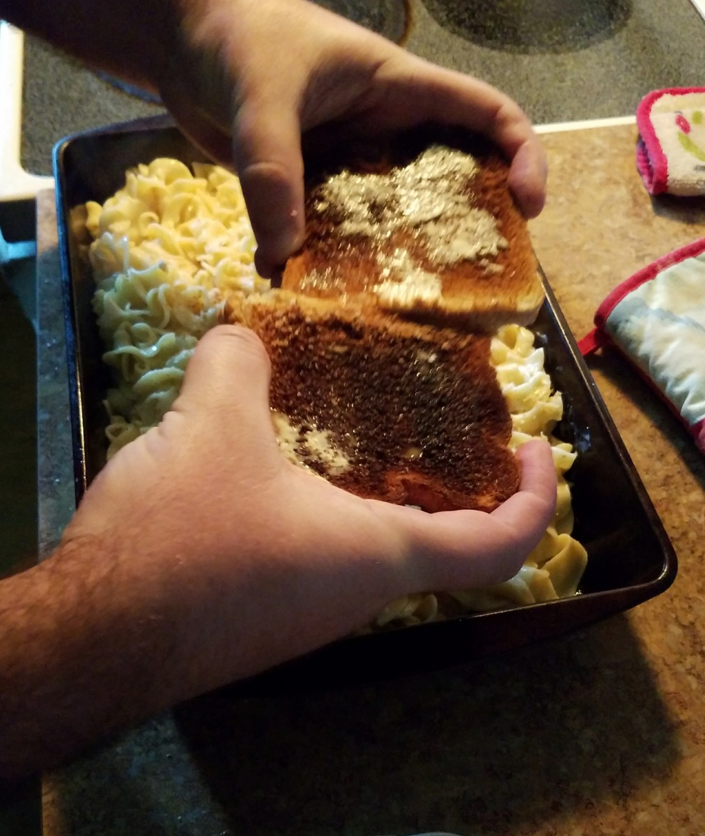 Top with bread crumbs, if desired. To make your own, slide two pieces of toast against each other over top of the macaroni.