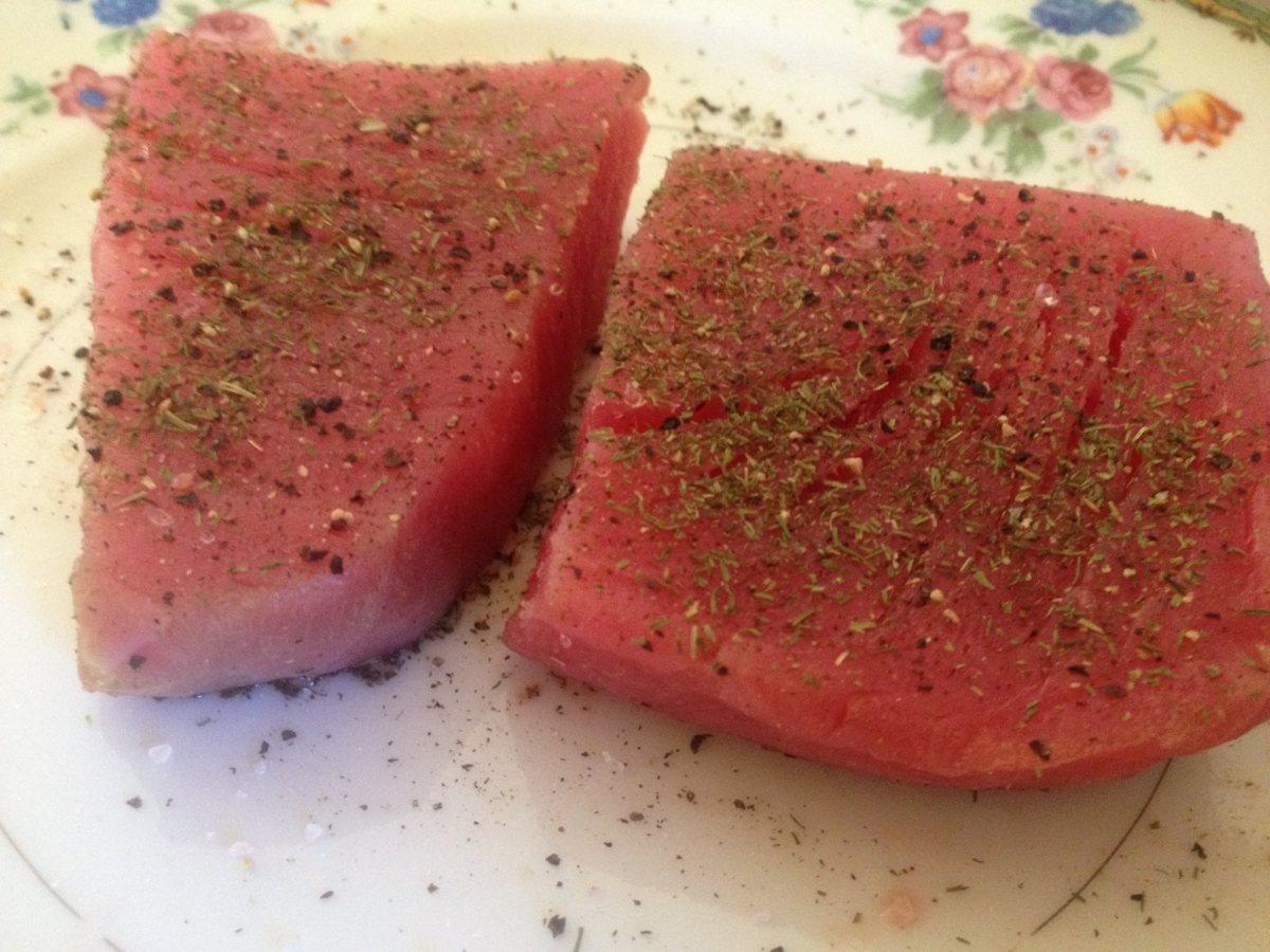 Ahi tuna steaks waiting to go on the grill.
