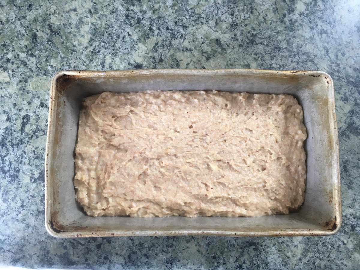 Batter in the greased loaf pan