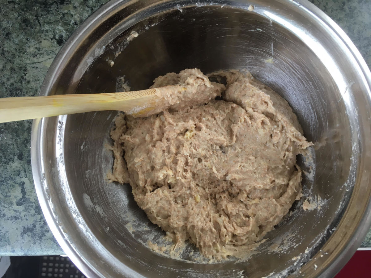 Wet and dry ingredients blended together