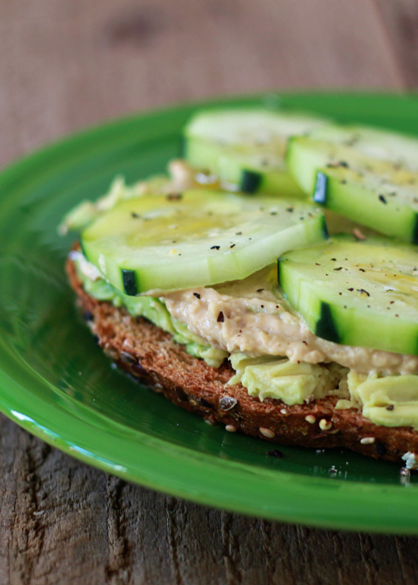 Cucumber, Hummus, and Avocado Toast