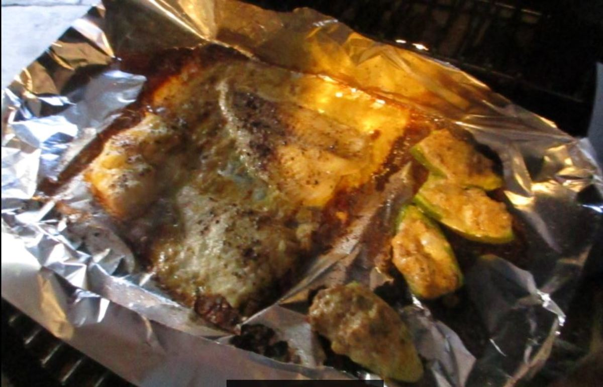 See how the moisture around the fish has caramelized, fish is done when the moisture is almost gone
