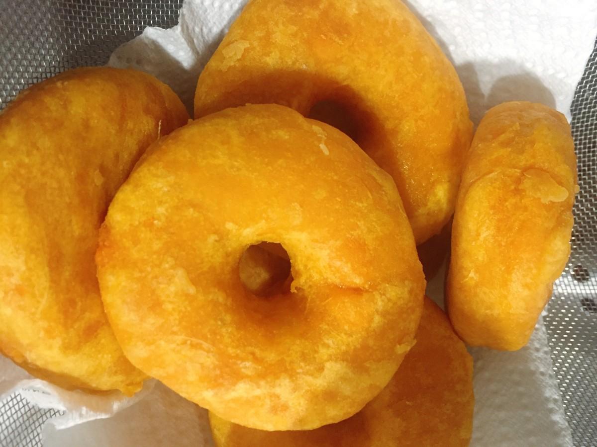 Golden brown donuts.