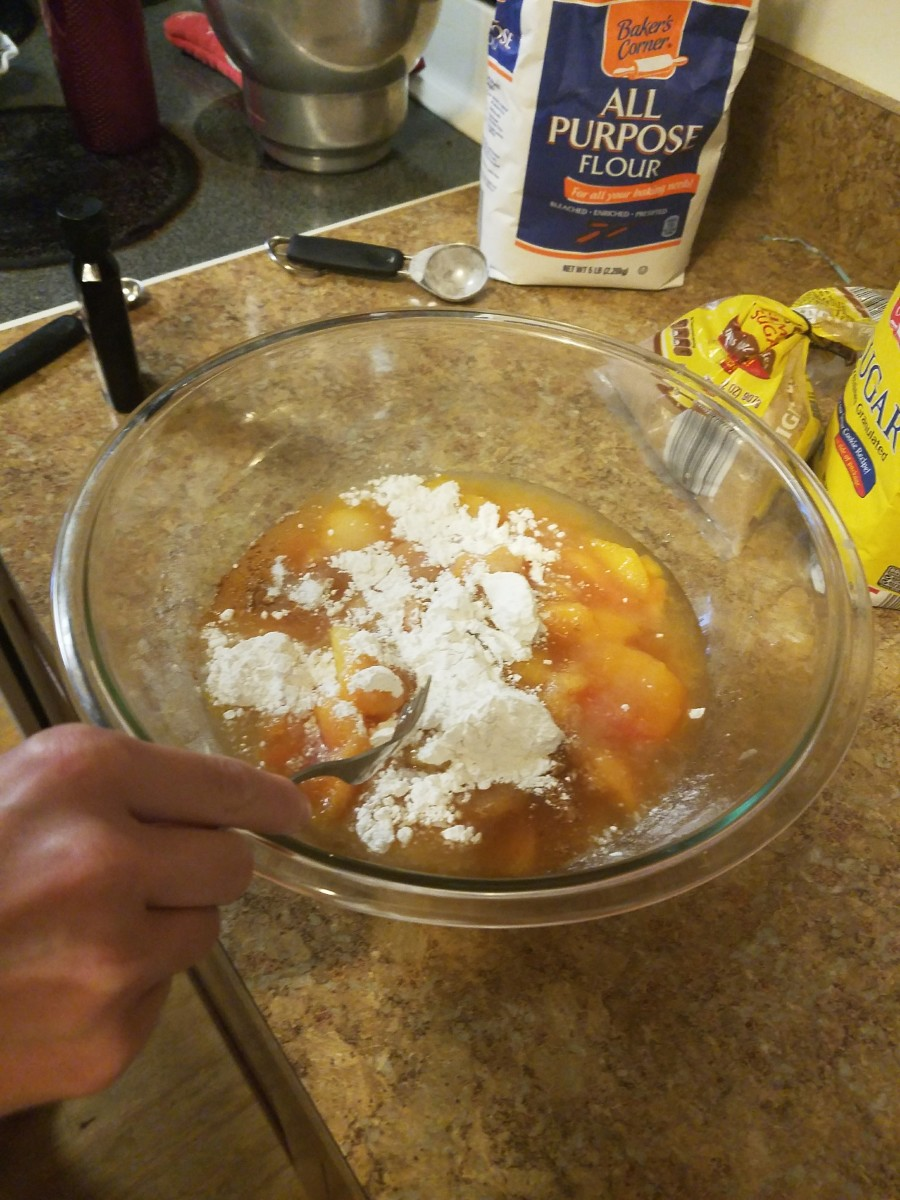 In a large bow, mix peaches, flour, sugar, vanilla, and cinnamon together.