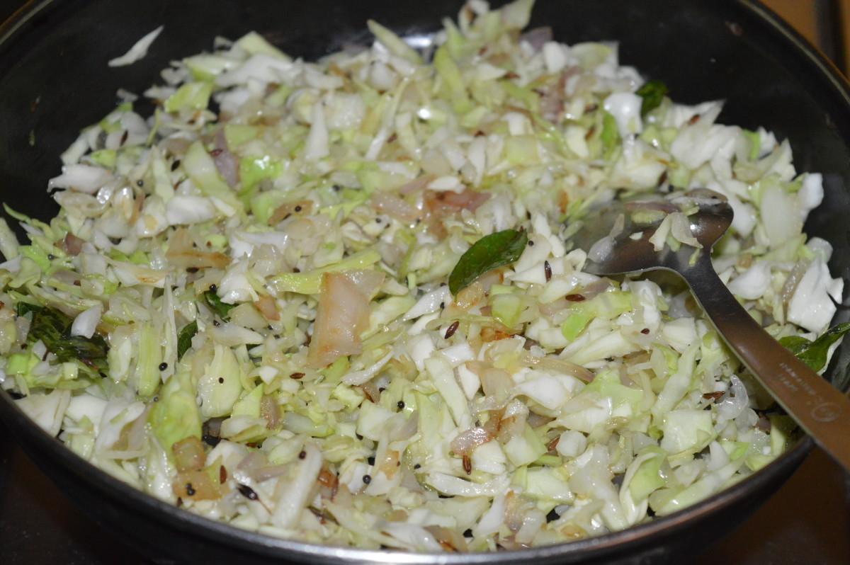 Step five: Stir-cook till cabbage becomes soft, yet crunchy.