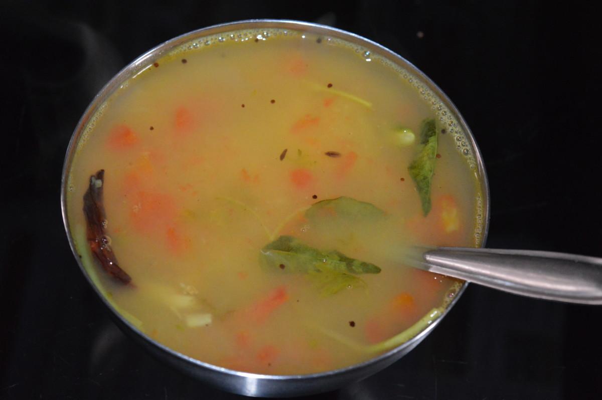 Step six: Lemon rasam or lemon soup with lentils is ready!