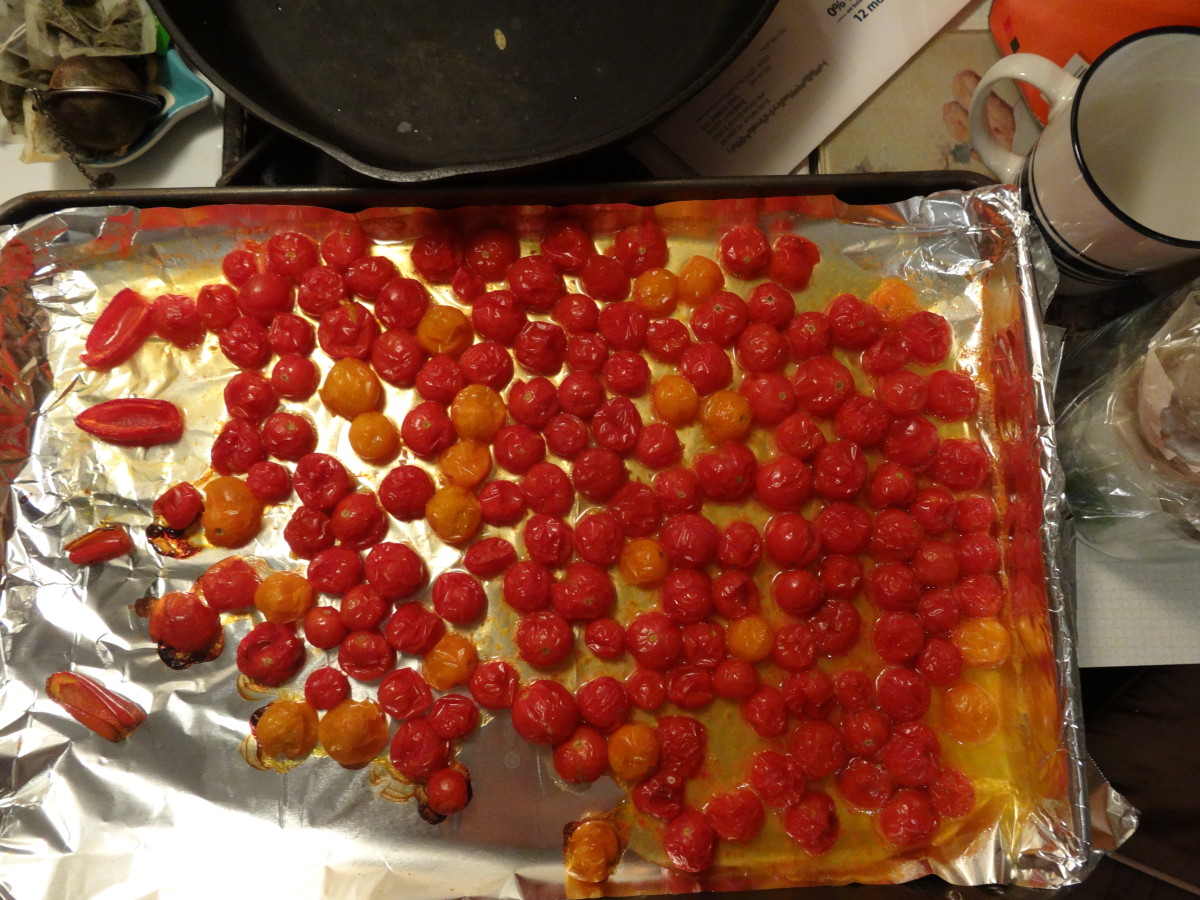 Roast at 400 degrees for 15–20 minutes, until tomatoes are soft.