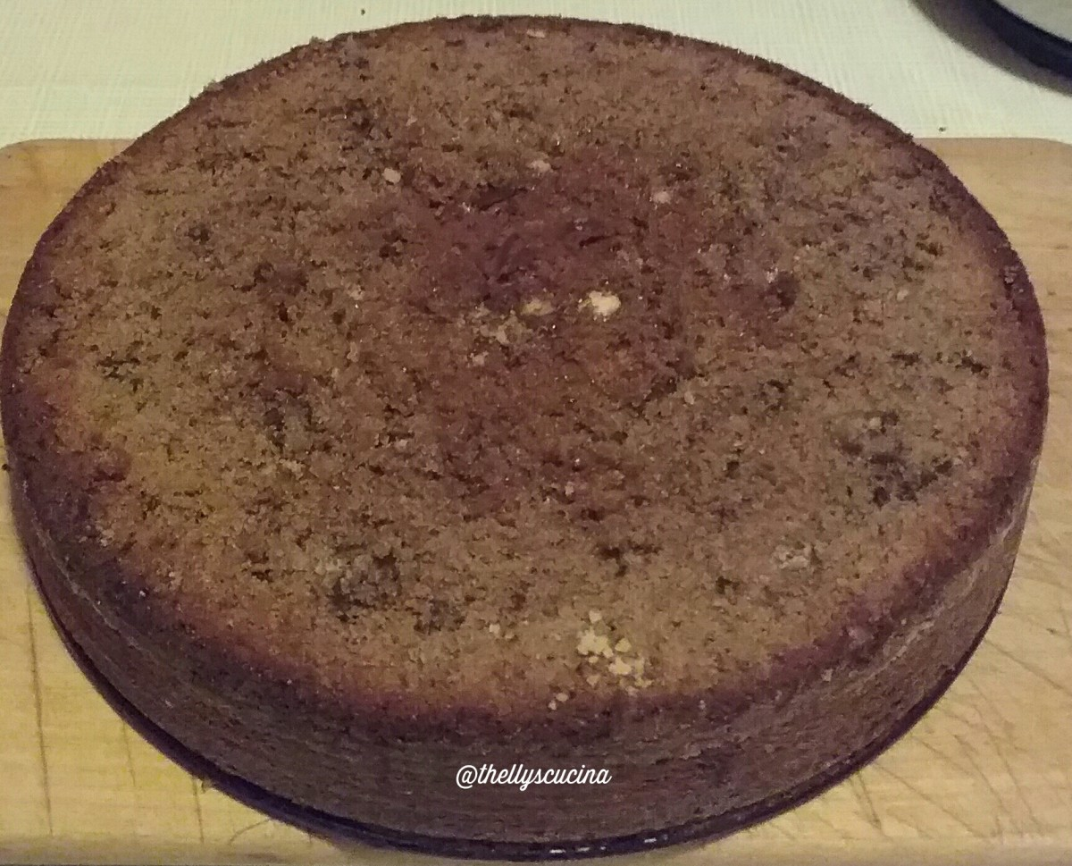 The chocolate sponge cake. The top of it was sliced as it was not even. As you can see, the white dot was the batter which was not mixed well. So, see to it that your cake batter is fully mixed.