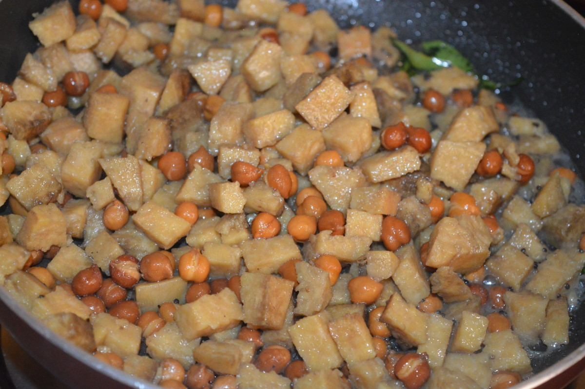 Step four: Add boiled yam and chickpeas mix to the pan.