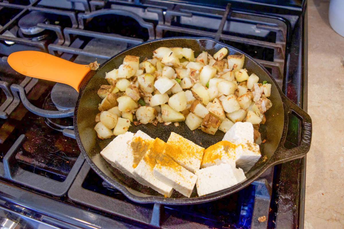 It's a meal made in a skillet. In this photo, we're just about to scramble the tofu.