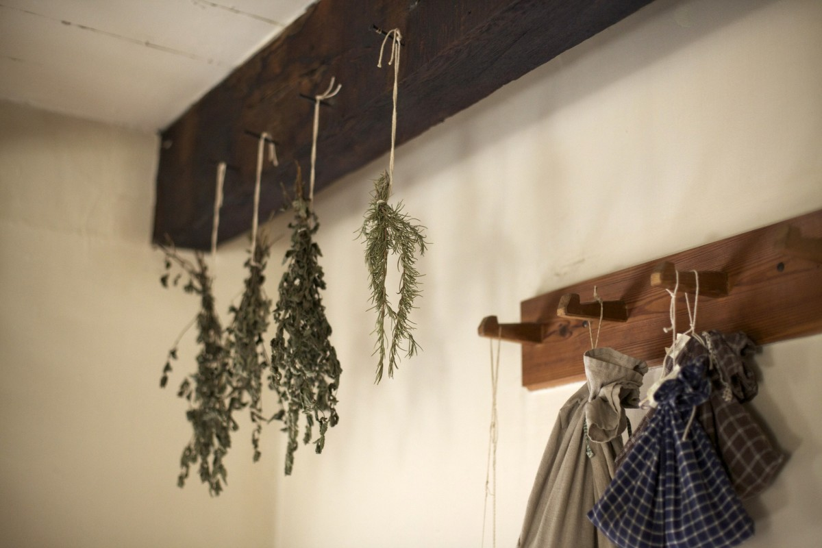 herbs hanging in an entryway