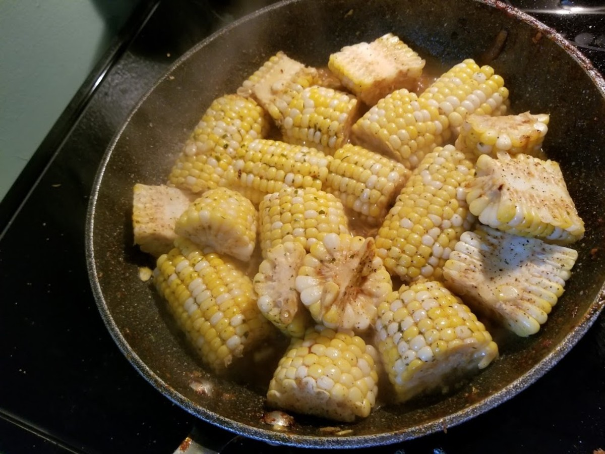 Seasoned corn cob and butter.
