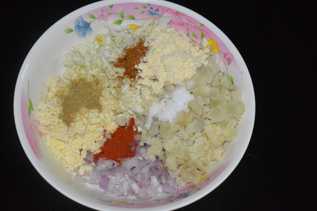 Step one: Ingredients for making cabbage kofta